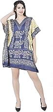 SKAVIJ Womens Beach Cover Up Ethnic Dashiki Print Kaftan Bathing Suit Maxi Dress