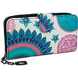 styleBREAKER Monedero con Motivo de Flores étnicas y floración, diseño Vintage, Cremallera, Mujeres 02040040, Color:Blanco-Az