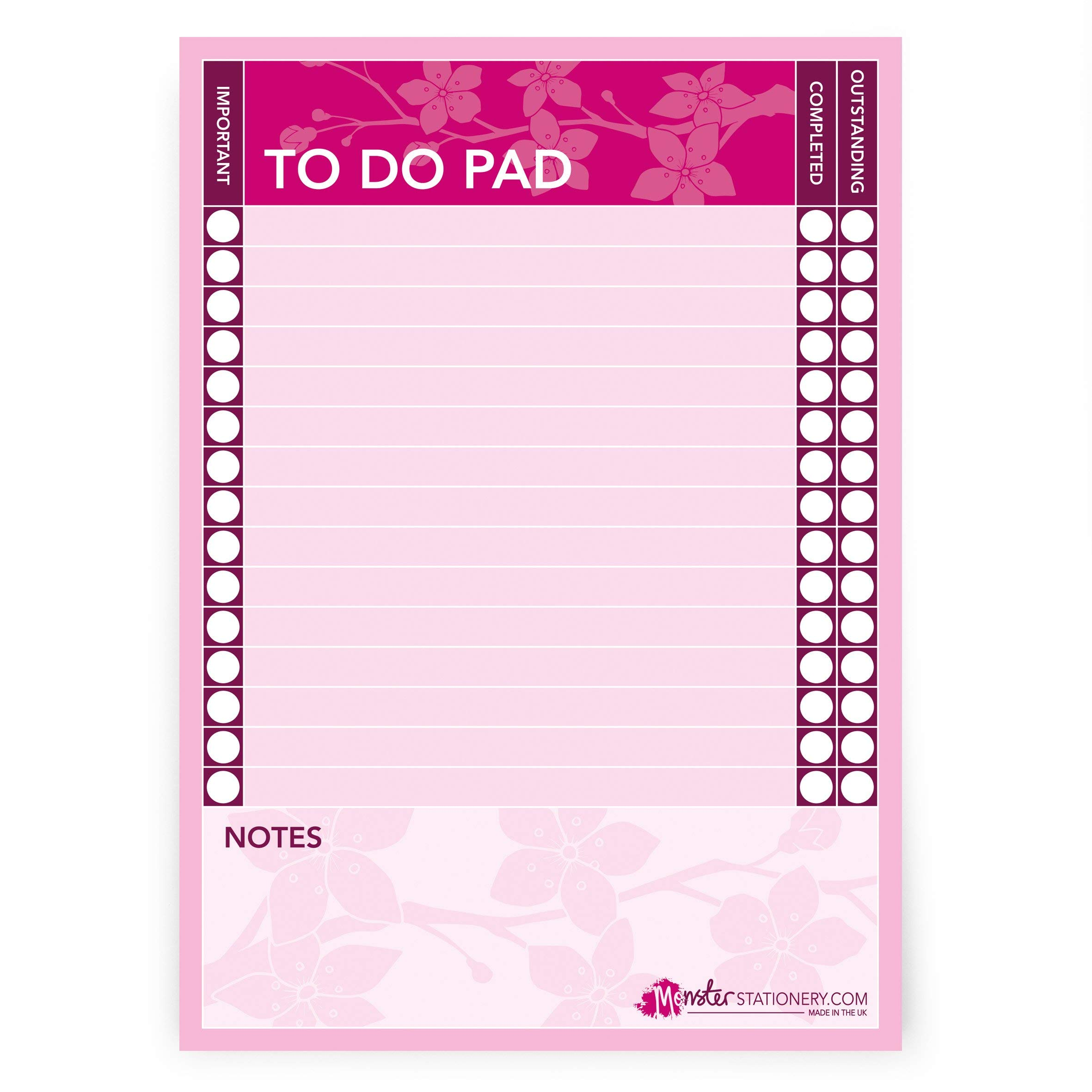 Monster-Stationery-Cherry-Blossom-A5-to-Do-PadDaily-Schedule-PlannerDesk-Pad-60-Sheets-80gsm-Made-in-UK