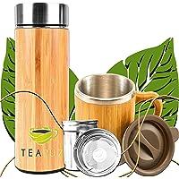 TeaFuz - Bouteille Thermos Isotherme Double Parois Et Sa Mug En Bambou, Infuseur Pour Thé, Fruit & Café, Avec Filtre En…
