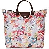 NFI essentials Polyester Foldable Shopping Bag, Handy Fold Up Tote Bag, Handbag Travel Bag, Women Shoulder Waterproof Carry B