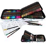 24 Couleurs Feutres Pinceaux Aquarelle Double Pointe et 96 Crayon de Couleurs Professionnel de Dessin Art Set,Inclus Stylos d