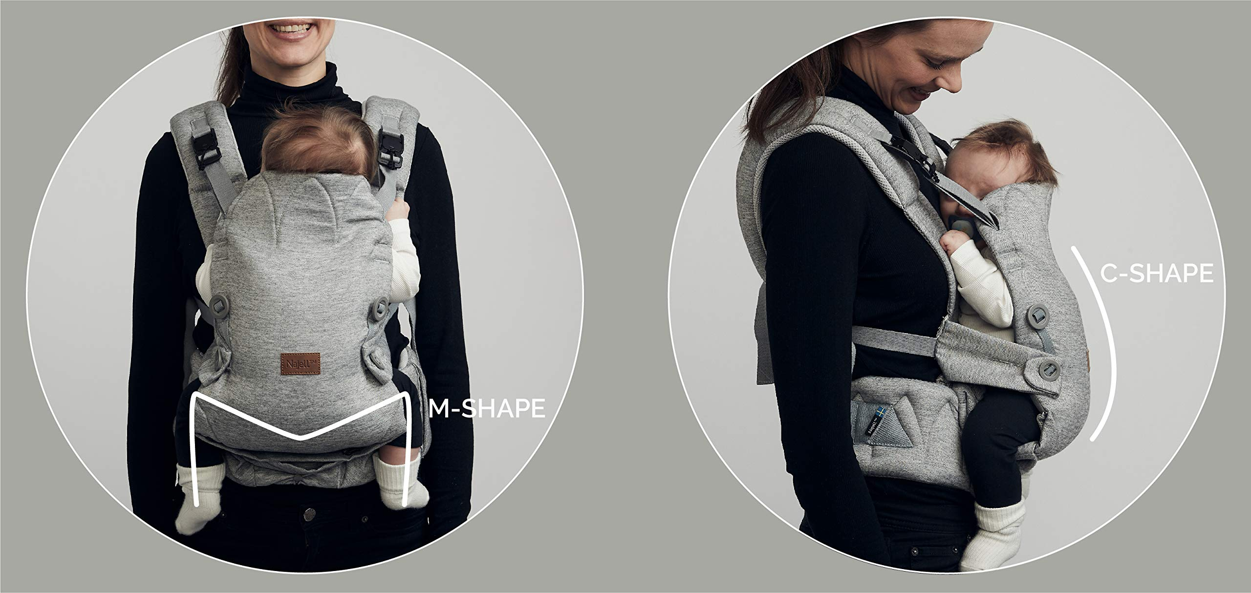 Najell Omni Active Mesh Baby Carrier with Hip Seat, Brilliant Black Béaba New-born ergonomic position and hips seat from 6 months. Market leading weight distribution with hip seat, recommended by the international hip dysplasia institute as a hip-healthy baby carrier Weight: 3, 5 to 15 kg and age: new-born to 3 years. 17