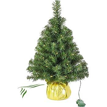 Künstlicher Mini Weihnachtsbaum WARSCHAU mit LED's, Gold, 60 cm, Ø 40 cm - Kunst Christbaum/Deko Tannenbaum - artplants