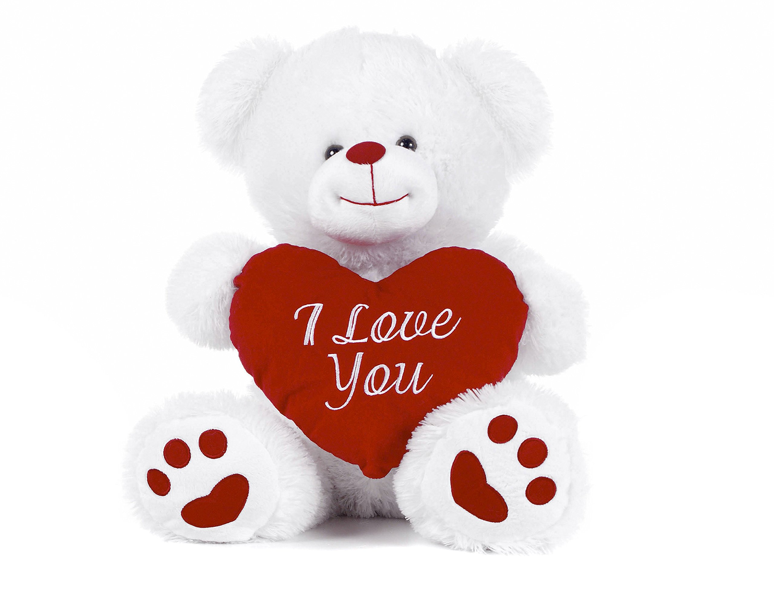 "White Teddy Bear holding Red Heart with ""I Love You"" written on it"
