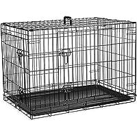 Gabbia per cani (76cm) – gabbia pieghevole in metallo nero con 2 porte perfetta per addestramento dei cuccioli (medio)