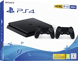 PlayStation 4  - Konsole (500GB, schwarz, slim, F-Chassis) inkl. 2 DualShock 4 Controller