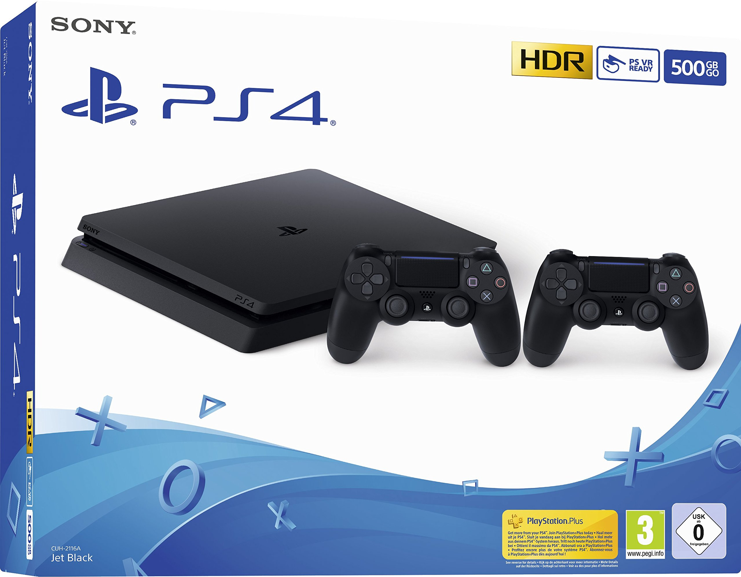 Playstation 4 (PS4) – Consola 500 Gb + 2 Mandos Dual Shock 4 (Edición Exclusiva Amazon)  – nuevo chasis F