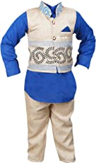 ahhaaaa's Boys Kurta, Pant with Waistcoat (BLU106-24_Blue & White_3-4 Years)