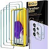 iVoler 4 Stuks Screen Protector + 2 Stuks Camera Lens Protector Compatibel met Samsung Galaxy A72 5G, Gehard Glas Schermbesch