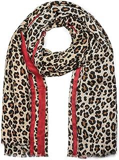 Faera Damen Schal mit Leoparden-Muster plissiert und eingefasst weich und leicht Einheitsgr/ö/ße in verschiedenen Farben