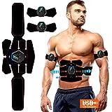 ROOTOK Electroestimulador Muscular Abdominales, Masajeador Eléctrico Cinturón con USB, Estimulación Muscular Masajeador Eléct