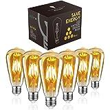 LED Edison Bulb, Woowtt Vintage Light Bulb, 6W E27 LED Bulbs, Led Filament Bulb, Antique Style Retro Amber Glass Screw Lamp,