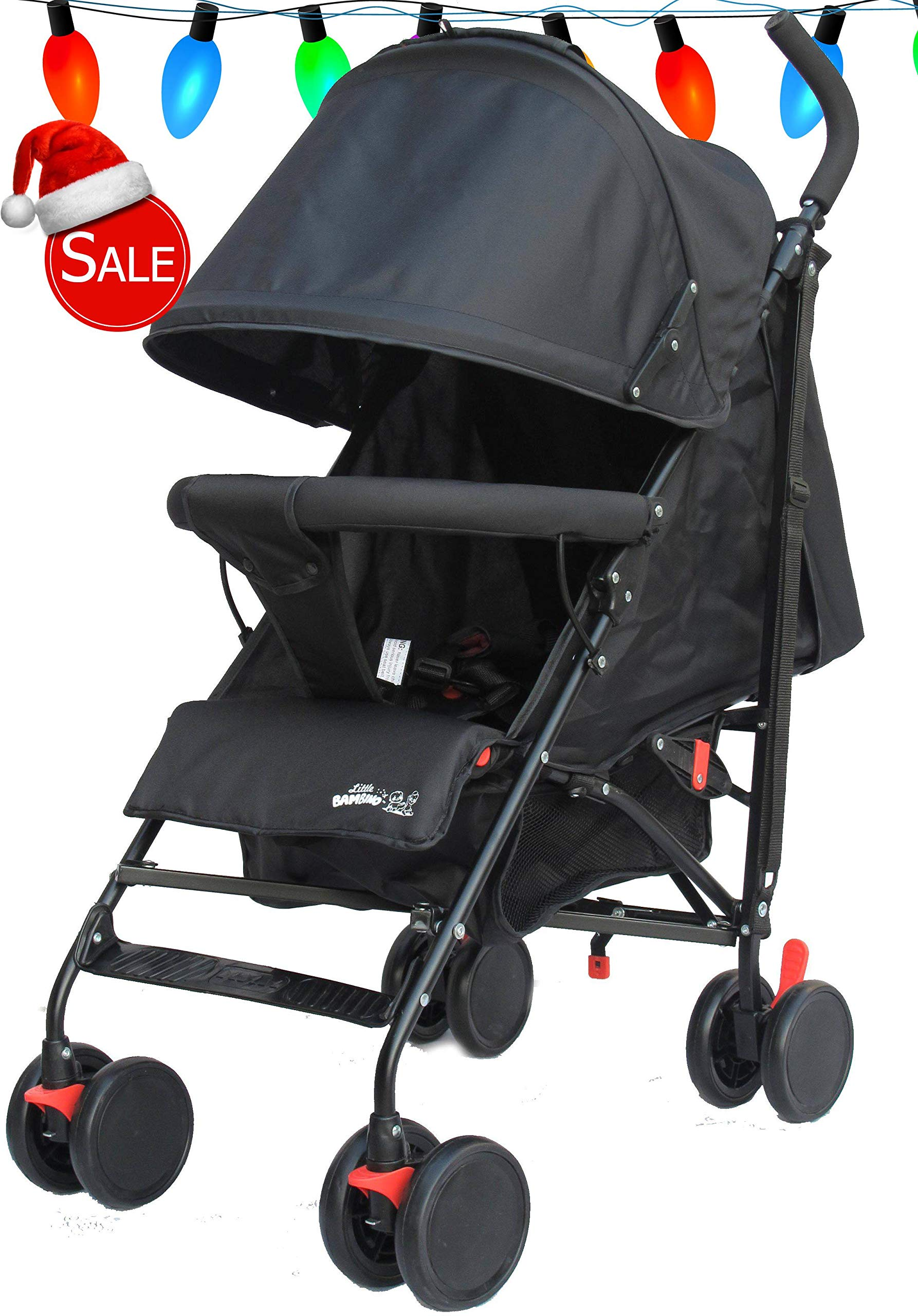 Stroller for Kids Lightweight Buggy Easy Fold Travel Stroller Buggy Foldable for Airplane Travel Cabin Size(Black) Little Bambino ✨Extendable upf 50+ sun canopy and built-in sun visor ✨EASY USAGE - One-hand foldable buggy makes taking your baby for travels or walks a simple pleasure. It could stand on its own so you could take care of your baby with less things to worry about. ✨ADJUSTABLE BACKREST - Travel stroller backrest can be adjusted. Suitable for children from 0 to 36 months 1