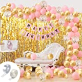 Party Propz Girls Happy Birthday Balloons Banner Curtains Decorations Kit- 93Pcs For Girl Baby Kids First Bday Decoration Ite