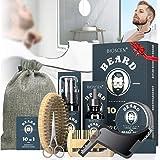 Kit Cuidado Barba para Hombre 10pcs, con Champú Barba, Aceite Barba, Bálsamo Barba, Cepillo Barba, Peine Barba, Plantilla Bar
