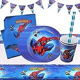 Yisscen Superhéros Anniversaire Vaisselle Avengers Party Décorations Fournitures de Table Assiettes Bannière Tasses Nappe Pai