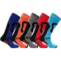 5 Pairs Boys/Girls High Performance Thermal Ski Socks - Multicoloured - UK Shoe Sizes 9-12, 12-3 & 4-6