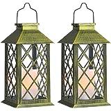Tomshine Solar Exterior Lámpara con Vela,Luz LED Solar faroles jardin exteri,Lámpara Solar Jardín Luz de Linterna de Decoraci