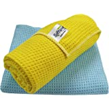 SOFTSPUN Microfiber Waffle Weave Cloths, 40x60 Cms 2 Piece Towel Set, 400 GSM (Multicolor). Multi-Purpose Highly Absorbent, L