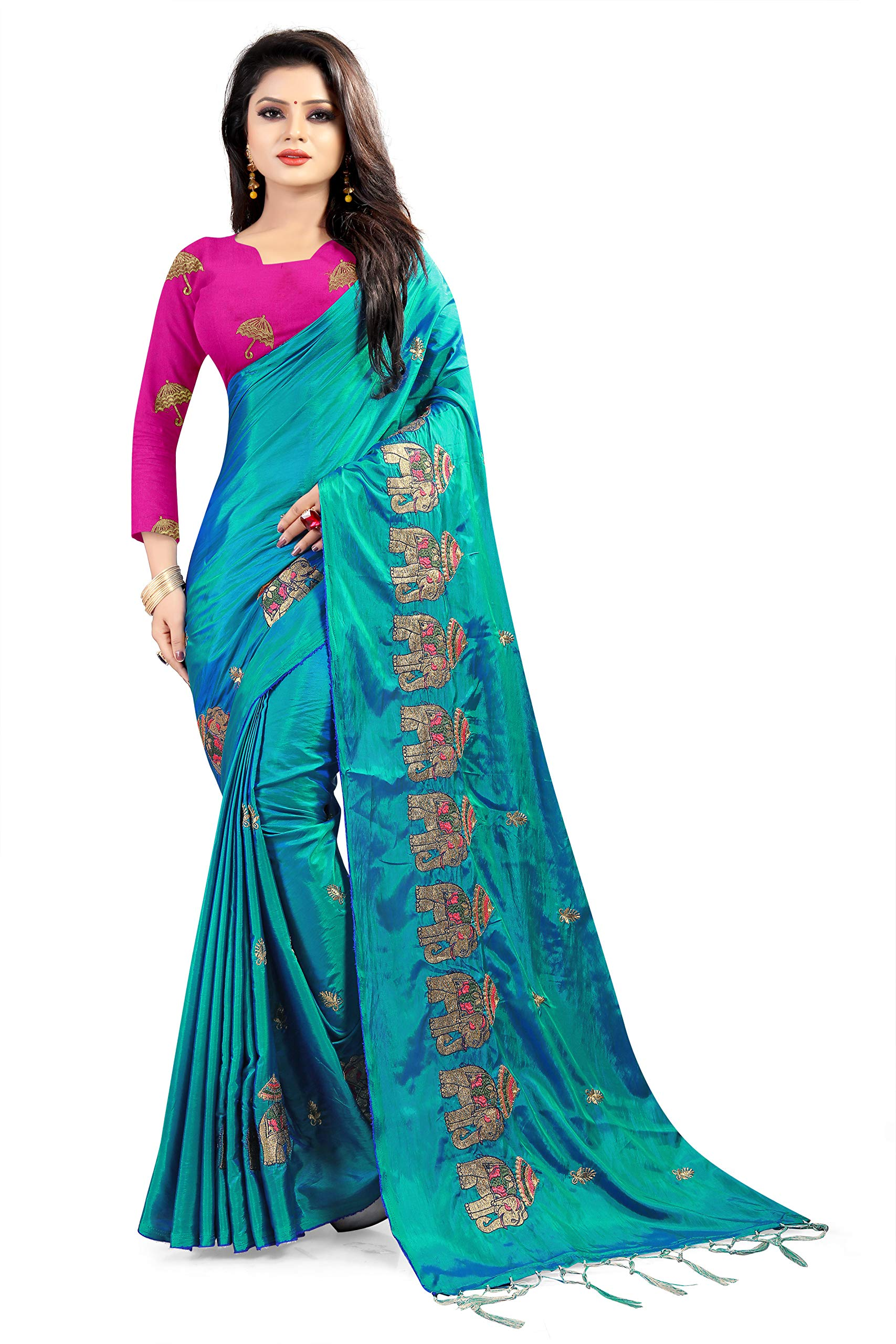 Women's Paper Silk Saree With Blouse Piece