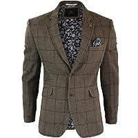 Cavani Mens Herringbone Tweed Brown Vintage Navy Check Fit Blinders Blazer Jacket
