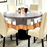 CASA-NEST PVC Waterproof 4 Seater Round Table Cover with Golden Lace 60inch Diameter (Gold)