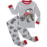 EULLA Pijama para niño, diseño de dinosaurios excavadora de algodón Tractor. 6 años