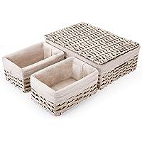 SAWAKE Lot de 3 Paniers de Rangement Tissés Rectangulaires en Rotin Imité, Corbeille à Osier Tressé, Panier étagère…