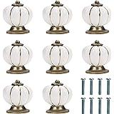 Kurtzy Biało-Złote, Ceramiczne Gałki do Drzwi ze Śrubami (8 Sztuk) - 3,6 x 3,9 cm - Okrągłe Gałki do Domu i Biura w Stylu Vin