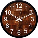 Amazon Brand - Solimo 12-inch Plastic & Glass Wall Clock - Woode Block (Silent Movement, Black Frame)