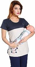 Soulemo Womens Premium Feeding Tops Feeding T-Shirts TEE. (only. top) Maternity Dress Feeding Nighty. Bust Size M-37, L-38, XL-40, XXL-42, XXXL-44 inches 630