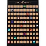 Enno Vatti 100 Movies Scratch Off Bucket List Poster - Póster de rascar de Las 100 Mejores películas Lista de Las Mejores pel