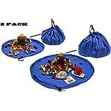 Edukit Spielzeugsack Kinder 2er Set Kleiner großer Spielsack Aufräumsack Aufräummatte Aufbewahrungssack Spielmatte wasserabweisend Picknickdecke