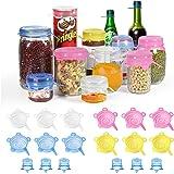 longzon Siliconen Deksel - 18 Stuks - Kleine Formaat 4 Verschillende kleuren Flexibele Herbruikbare Voedselbesparende BPA-vri