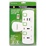 TERMINATOR 2 WAY UNIVERSAL T SOCKET WITH 2USB, 2.1Ah INDIVIDUAL SWITCH AND INDICATOR WITH FUSED IN WHITE COLOR-TMA 2T-2USB
