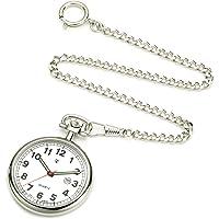 Orologio da tasca in acciaio inossidabile con catenina - impermeabile - lancette e numeri luminosi