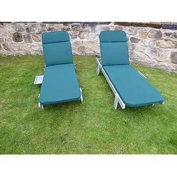 Set of 2 Green Cushions For Garden Sun Lounger Chair 198x60x5 Garden Furniture Cushion