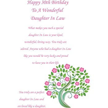 Daughter In Law 30 Birthday Card