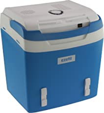 EZetil E 26M - Elektrische Kühlbox mit Gurtfixierung - 12/230V 24 Liter mit Kühl- und Warmhaltefunktion, perfekt für Outdoor Veranstaltungen wie Grillpartys oder Picknick, Energieeffizienzklasse A++, Stahlblau