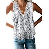 Mosucoirl Camisa sin Mangas con Cuello en V y Encaje con Cuello en V Camisa Informal sin Mangas Camisa Blusa Ligera Camisole