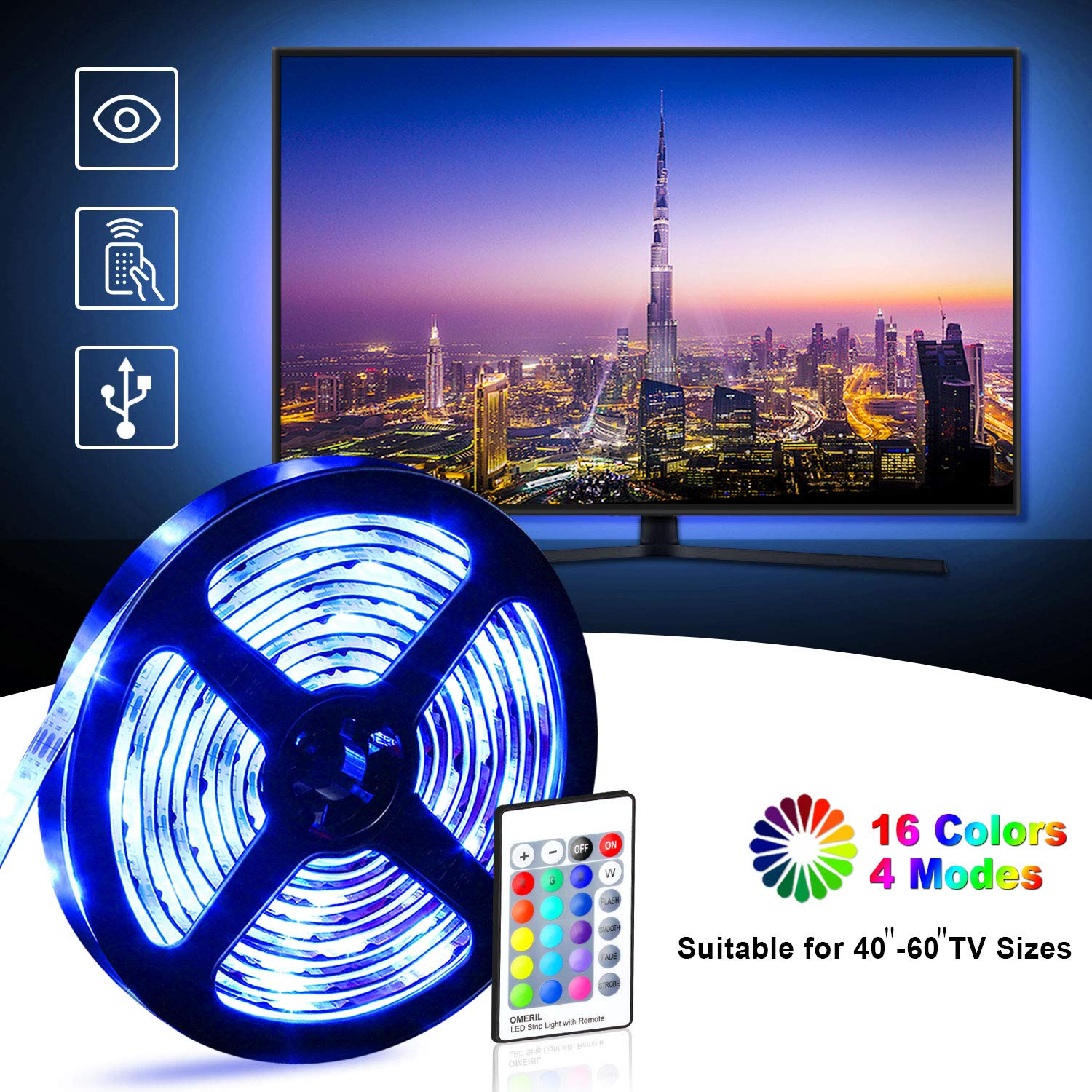 Tira LED TV 2.2M, OMERIL 5050 Tiras LED USB Impermeable con Control Remoto, 16 RGB Colores y 4 Modos, Retroiluminacion LED de TV para Cine en Casa, HDTV/PC Monitor (40-60 Pulgada) – 2x50cm+2x60cm