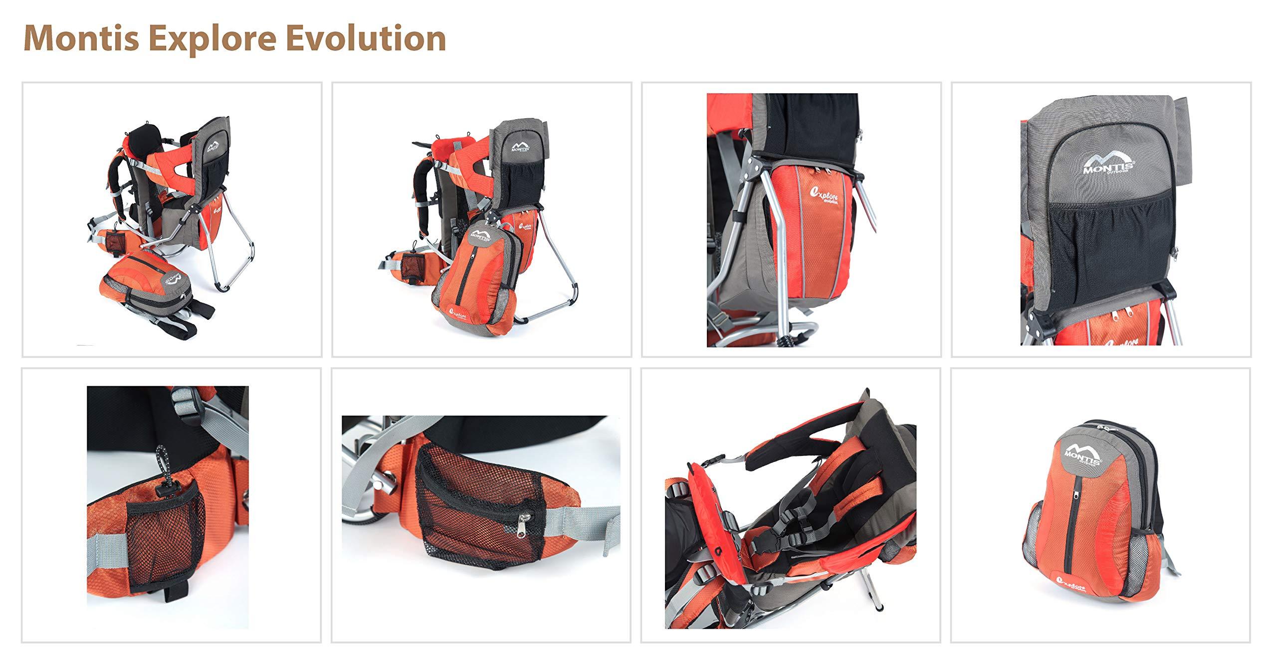 81kiNjbRSIL - Montis Explore Evolution - Mochila portabebés (Carga máxima de 25 kg), Color Naranja y Rojo (2000 gr)