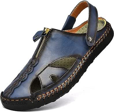 Kouani Men'S Sandals Outdoor Leather Closed Toe Beach Shoes(Blue UK7)
