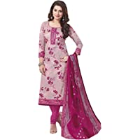 Miraan Women's Cotton Unstitched Dress Material (Band1831, Pink, Free Size)