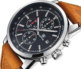BENYAR Herren Uhren Quarz Chronograph Wasserdicht Uhren Business Casual Sport Design Lederarmband Armbanduhr (Silver Back)