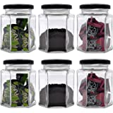 Farkraft Hexagon Glass Jar and Container(250 ml) with Rust Proof Air Tight Lid/Suitable to use in Your Home Office…