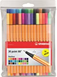 Fineliner - STABILO point 88 - 30er Pack - mit 30 verschiedenen Farben inklusive 5 Neonfarben