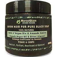 Savon Noir Marocain à l'huile d'argan BIO et l'Amandes amères, 250g,100% traditionnel Beldi. Anti-rides mondialement…