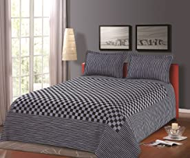 """Cloth Fusion Prima Checkered 300TC Bed Cover with 2 Pillow Cover- Double (90""""X100""""),Black and White"""